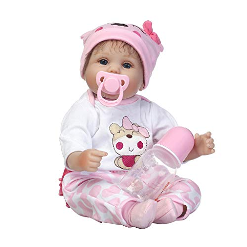 Sarora - 40cm Silicon Lifelike Doll Pink Clothes Hat Cute Bear Pattern Early Childhood Kids Baby Toys from Sarora