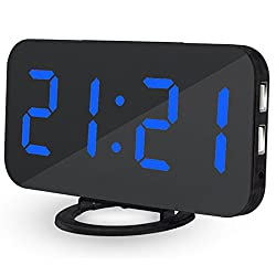 EVIICC Electric LED Display Alarm Clock – Can Charge Your Phone, 2 USB ports, Snooze, Dimmer and Battery Backup and 12/24 Hours Blue