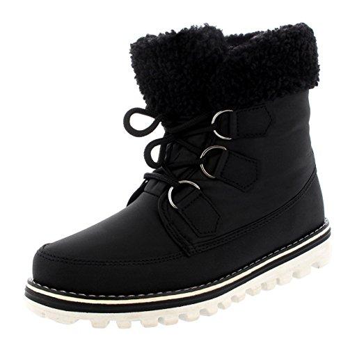 Polar Products Womens Waterproof Durable Snow Winter Hiking Fleece Ankle Boots - Black Nylon - US7/EU38 - YC0493