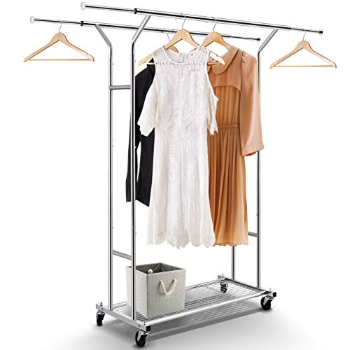 Clothing Garment Rack, Double Rail Heavy Duty Capacity 200 lbs Commercial Grade with Wheels and Lower Storage Shelf, Extendable (Maximum 64.5