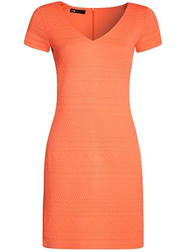 oodji Collection Mujer Vestido de Tejido Texturizado con Escote en V Naranja (5500N)