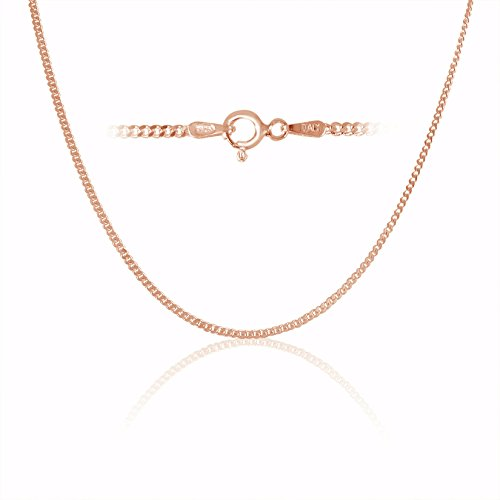 Rose Gold Plated Sterling Silver Thin Cuban Curb Link Chain Necklace 1.8mm 24 inch
