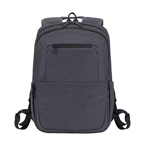 Rivacase 7760 Classic Work School College Backpack Water Resistant 15.6 Inch Computer Student Tech Bag, Black