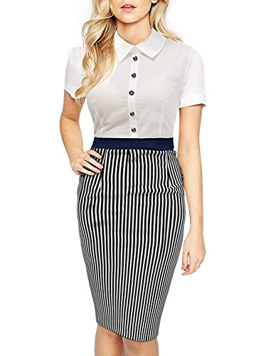 Davikey Women's Business Polo Neck Contrast stripe Short SleeveFitted Pencil Dress - Tx Houston Mall In
