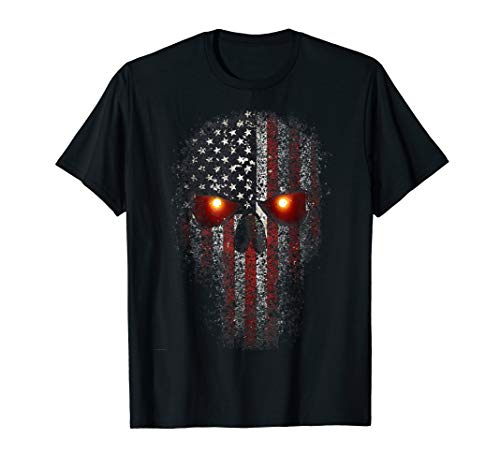 Epic USA Military American Skull Flag Patriot Glowing Eyes T-Shirt