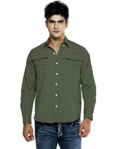 OCHENTA Men's Long Sleeve Fishing Shirt, Lightweight Quick Dry Sun Protection Tops Army Green US -