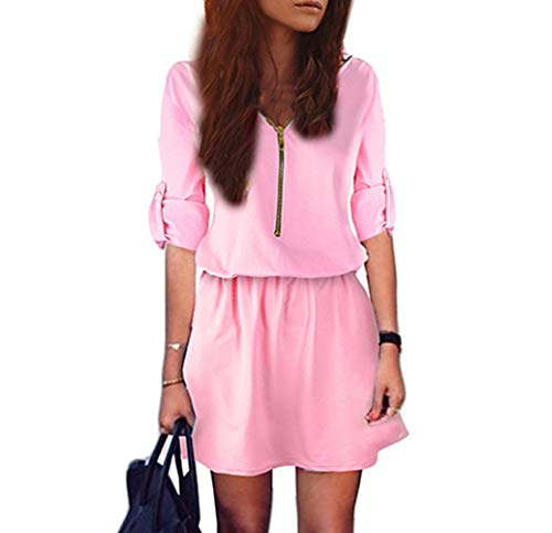 DEATU Ladies Dress, Teen Girls Womens Zip Elastic Waist V Neck Long Sleeve Tunic Solid Casual Sexy Mini Dress(Pink,L) -