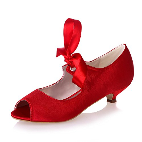 Satin Party 14 YC apparel Pointed Wedding amp; L 0700 Shoes Stretch Female Professional Red dwxvfq7SY