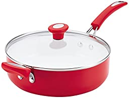 SilverStone Ceramic Nonstick Aluminum Covered Sauté with Helper Handle, 4-Quart, Chili Red, CXi