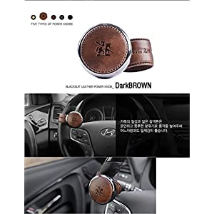 Leather Power Handle Knob Handle Steering Wheel Car Accessories BLACKSUIT (Dark Brown)