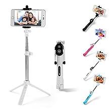 Sumaclife Extendable Monopod Bluetooth Remote Selfie Stick with Tripod Stand for Samsung Galaxy S8 / S8 Plus / LG G6 / Motorola G5 / G5 Plus / Nokia 3 5 6 / HTC U Play / U Ultra (White)
