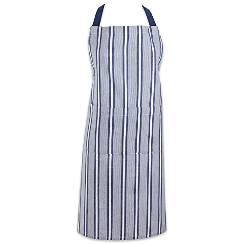 (DII Cotton Adjustable Stripe Chef Bib Apron with Pockets and Extra Long Ties, 32 x 28