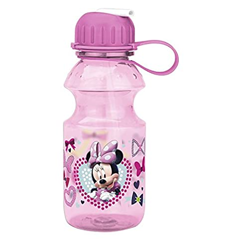 Zak! Designs Tritan Water Bottle with Flip-up Spout with Minnie Mouse Graphics, Break-resistant and BPA-free plastic, 14 oz.