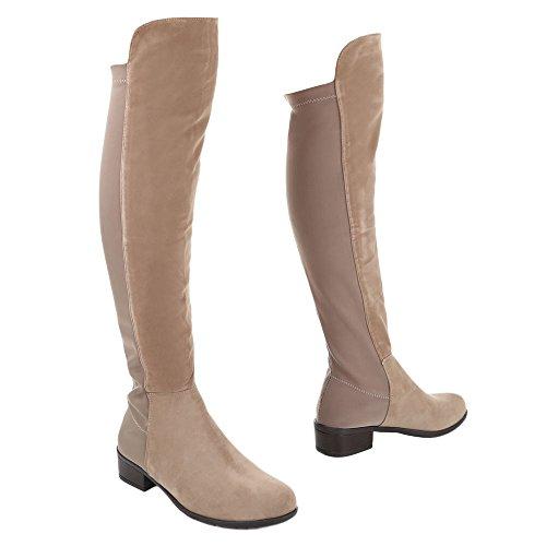 Ital-Design Damen Schuhe Blockabsatz Klassischer Stiefel Overknee Stiefel Stiefel Blockabsatz Hellbraun