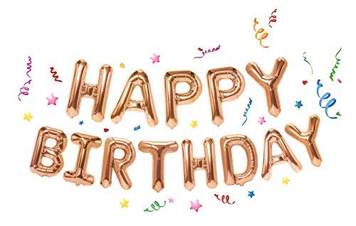jinzan Foil Happy Birthday Balloons Banner, Letters Balloons Mylar Balloons for Birthday Party Decoration Supplies (Rose Gold) -