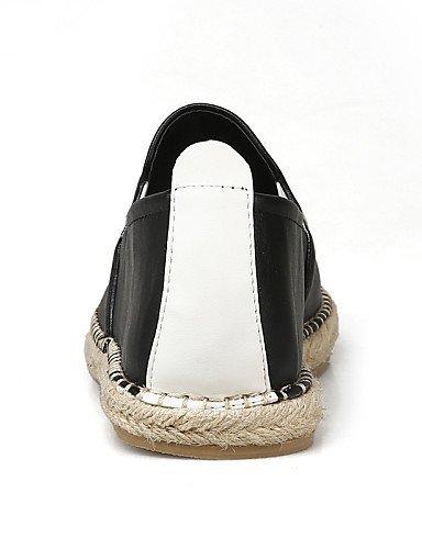 arrotondata Lino Nero Bianco Casual Scarpe pelle Mocassini White Formale Piatto Comoda ShangYi Finta Punta Donna wf4qTzTx0