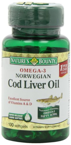 Nature's Bounty Omega-3 Norwegian Cod Liver Oil, 100 Softgels (Pack of 6)
