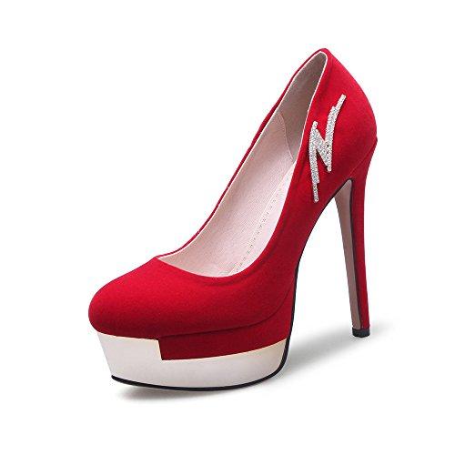 JIEEME Ladies Sexy Stiletto Platform Party Women Pumps Crystal Black Red Round Toe Women Court Shoes Red CcQChce