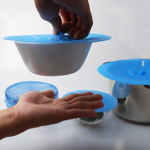 mockins 12 Pack Silicone Covers | 5 Silicone Stretch Lids & 7 Suction Lids | The Reusable Silicone Huggers are Expandable To Fit Various Unique Shapes & Sizes To Keep Your Food Fresh & Tasty - Blue by Mockins (Image #4)'