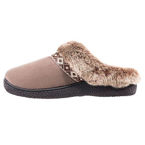Pantofola Taupe Da Donna Con Cappuccio In Microrete Isotoner