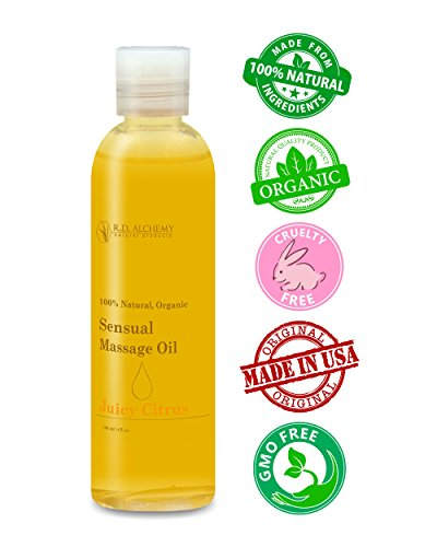 100% Natural & Organic, Edible Massage Oil for Body. Essential oils perfect for couples. Erotic flavor: Juicy Citrus - sends the right message. Citrus Moisturizing Massage Oil