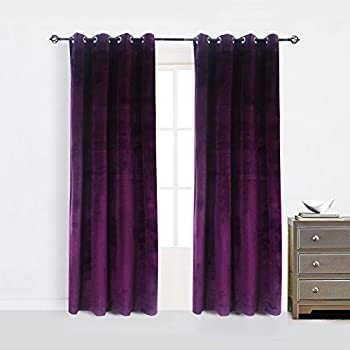 Cherry Home Set Of 2 Blackout Velvet Energy Efficient Grommet Curtain Panel Drapes Lavender Purple 52Wx96L