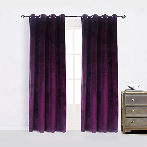 Cherry Home 52-Inch-by-84-Inch Velvet Blackout Grommet Curtain Panel, Purple