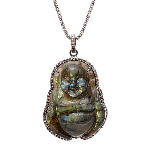 (COLORS OF JEWELS 925 Sterling Silver Labradorite Buddha Hand Carved Face Diamond Pendant Jewelry)