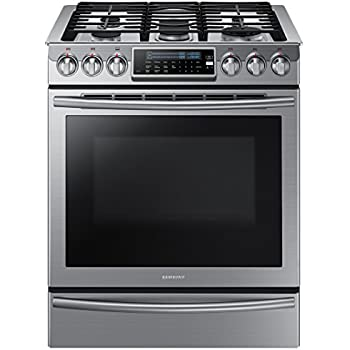 Samsung NX58H9500WS Slide-In Stainless Steel Gas Range with 5 Sealed Burners, 30-Inch