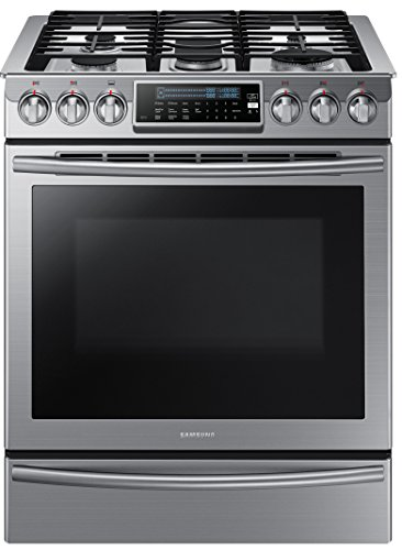 (Samsung NX58H9500WS Slide-In Stainless Steel Gas Range with 5 Sealed Burners, 30-Inch )