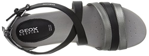 Geox Women's Vega 12 Flat Sandal Black/Gun geniue stockist for sale gGInwG