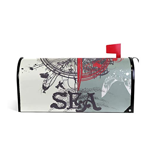 Magnetic Mailbox Covers Compass Rudder Ocean Element Sticker Mail Post Box