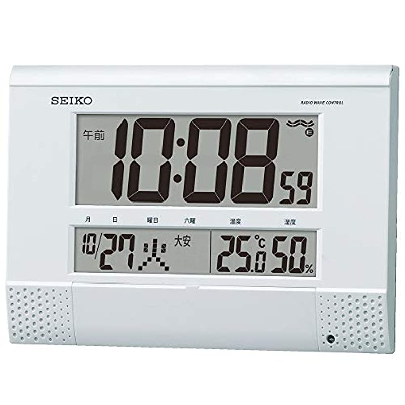 세이코 clock 백펄 본체 사이즈18.6×26.4×3.9cm 벽시계 탁상시계 겸용 전파 디지탈 프로그램 기능 BC412W