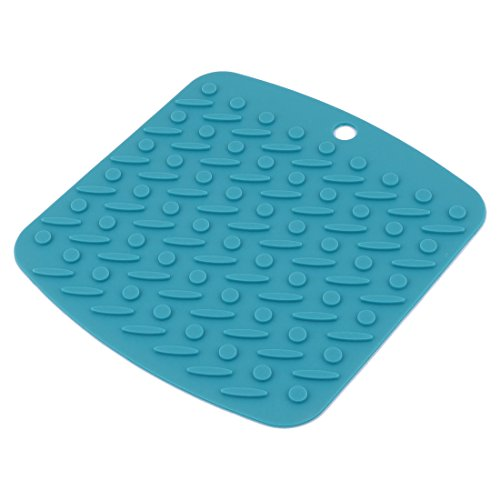 uxcell Silicone Home Kitchen Rectangle Shaped Table Decor Heat Insulation Placemat Pad Teal Blue