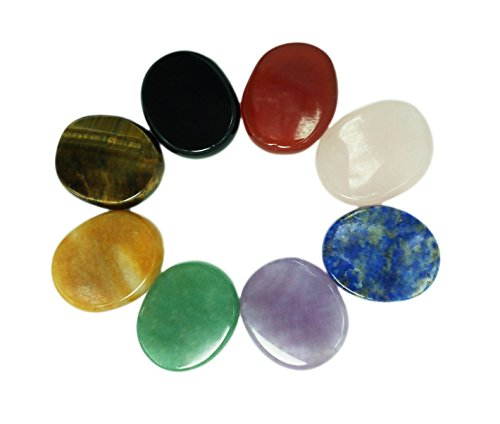Chakra Stones 8 PCS Kit, Oval Shape, Tumbled & Polished, for Use in Grounding Balancing Soothing Meditation Reiki or as Worry Stones, Hot Spa Rock & Massage (8-pcs Chakra stones)