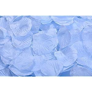 La Tartelette Silk Rose Petals Wedding Flower Decoration (100 Pcs, Light Blue) 14