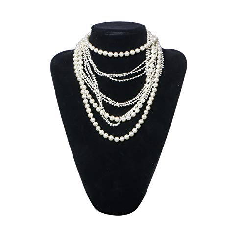 "Zhisheng You ART DECO Fashion Faux Pearls Flapper Beads Cluster Long Pearl Necklace 55""(Beige)"