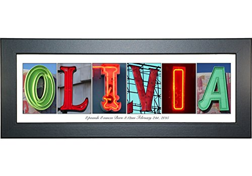 (Creative Letter Art - Personalized Framed Name Sign with Neon Alphabet Photographs including Black Self Standing Frame)