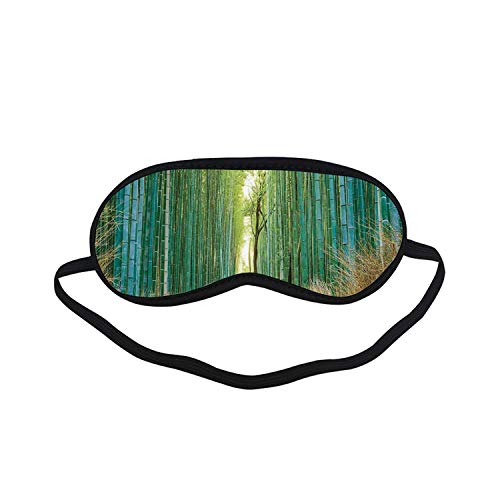 Bamboo Forest in Japan Fashion Black Printed Sleep Mask,Panoramic View of Historic Landscape Park Decorative for Bedroom,7.1