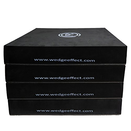 Stack Effects - Wedge Ledge - Foam Soft Stack-able 3 Inch Plyo Box for Plyometric and Jumping Exercises and Conditioning, Non-Slip Resistant Grip Bottom, Safer Design, Portable, Black, Set Of 4
