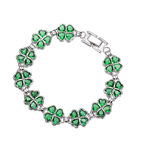 KIVN Fashion Jewelry CZ Irish Shamrock Four Leaf Clover Wedding Bridal Bracelets for Women (7) ()