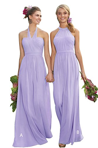 Halter Bridesmaid Dresses Long Chiffon Pleated Backless Evening Prom Dresses Lavender A Size 6