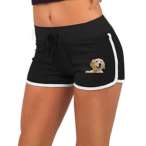 Women's Sexy Shorts Golden Retriever Pup Fashion Beach Hot Shorts Black (Pup Retriever)