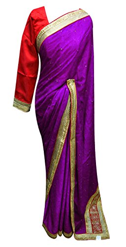 Women Indian art crepe self print saree with blouse Bollywood theme costume 7090