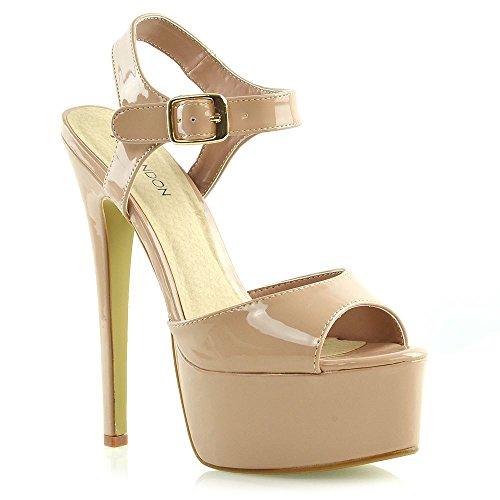 Shoes Caviglia Party Stiletto Essex Cinturino Piattaforma Tacco Glam Alto Beige Womens Sandali Signore Alla Prom vgwOqHv7