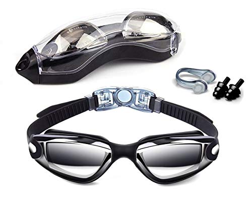 Hurdilen Swim Goggles, Swimming Goggles Anti-Fog UV Protection Coated Lens No Leaking with Nose Clip,Earplugs,Case for Men Women Adult Youth Kids (Type B-Dark Black (Without Cap))