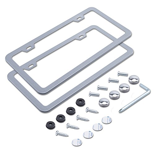 L-Fine License Plate Frame 2 PCS 2 Holes Aluminum Slim License Plate Frames with Screw Caps for US Standard (Silver)