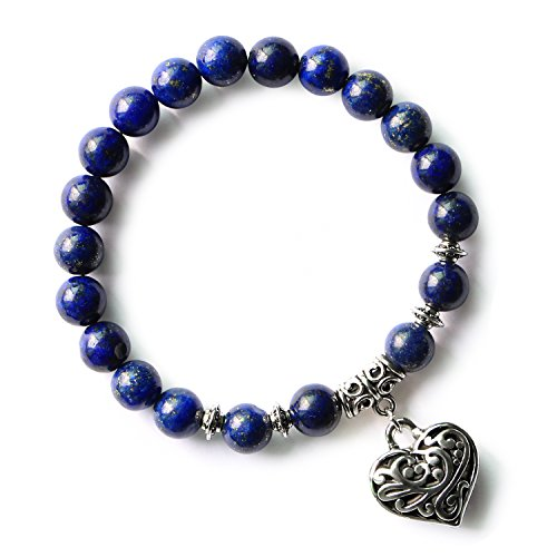 (MHZ JEWELS Lapis Lazuli Stretch Beads Bracelet Royal Blue Handmade Gemstone Heart Beaded Bracelet Jewelry)