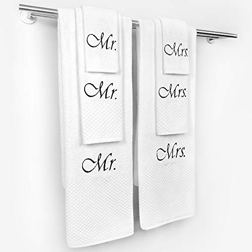 (Kaufman - MRS. Personalized Milan 3-Piece (Bath Towel, Hand Towel, Washcloth) White Towel Set with Monogrammed Letter 100% Cotton for Bathroom, Kitchen and Spa. (3))