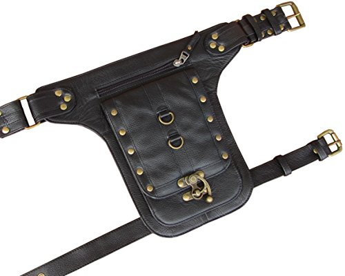 Steampunk Leather Holster Cosplay Thigh Bag with Swing Lock from One Leaf (Black) (Lock Steampunk)